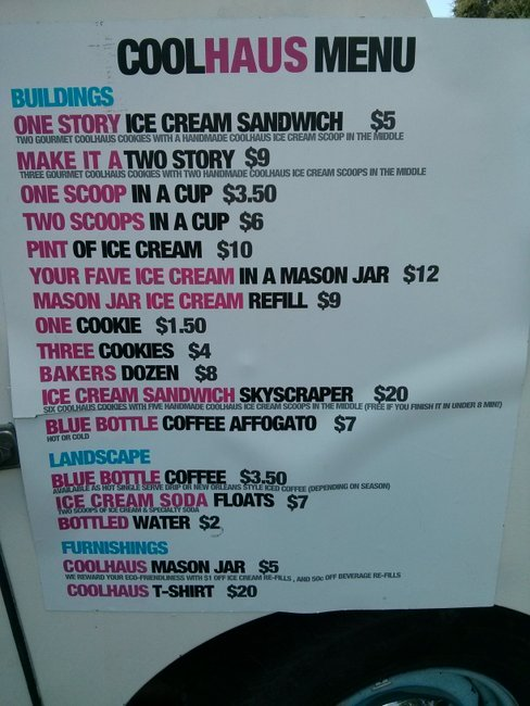 ice cream sandwiches are $5 each, you can also order plain ice cream and a few other things